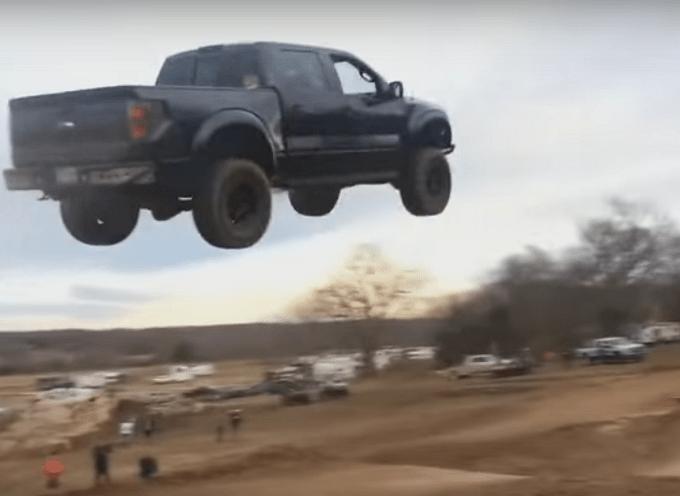 Image result for Ford F-150 SVT Raptor Jumps 90 Feet on Motocross Track!
